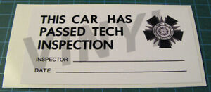 SHELBY-AMERICAN-TECH-INSPECTION-DECAL-STICKER-SCCA-VINTAGE-RACING-BUD-MOORE