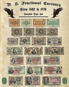 """Complete Fractional Currency Type Set Au or Better notes Antique Paper 16x20"""""""