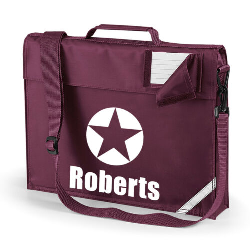 Personalised BookBag with Strap Personalised Book bag Star School Bag 5 colours