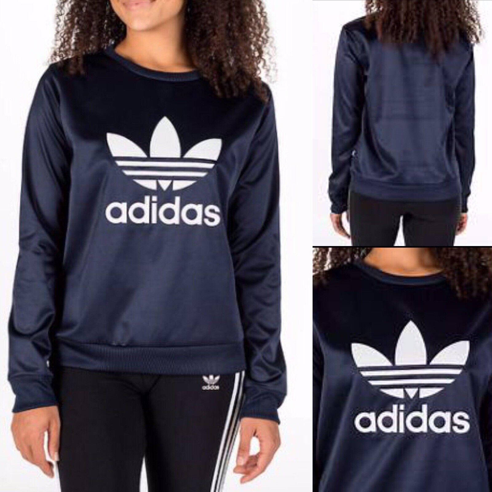 Adidas Originals Trefoil Satin Crew SweatshirtBP9387Navy Sz XS Authentic
