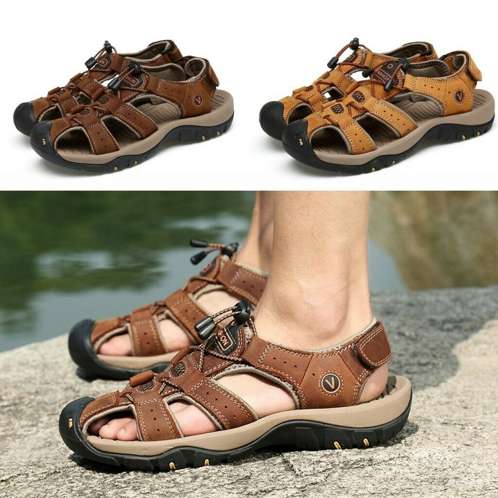 Mens Beach Sandals Summer Casual Hiking Outdoor Genuine Cowhide Sandals US12