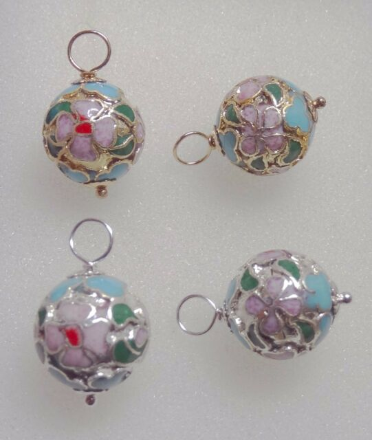 Gorgeous 12mm Turquoise & Pink Cloisonne INTERCHANGEABLE Earring Charms YG or SS