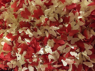 Ivory & Red or Black Biodegradable Wedding Confetti Butterflies Handmade 1200pcs