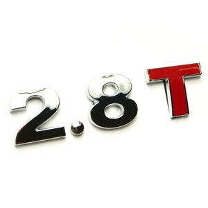 Le Logo 2.8 T Emblème Logo Chrome Rouge Tuning Rs Garde Boue Caractères Turbo Modèles-afficher Le Titre D'origine La DernièRe Mode