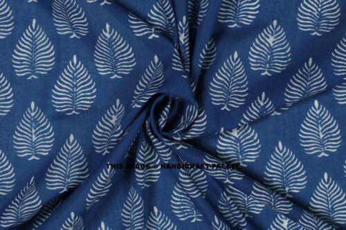 By Yard Indian Blue Indigo Hand Block Print Cotton Fabric Dressmaking Sewing