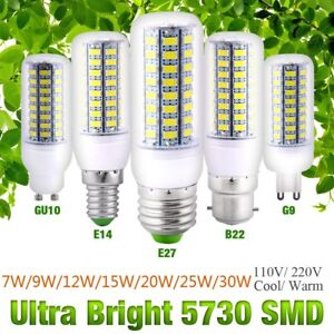 Ultra-Bright-E27-E14-B22-G10-G9-5730-SMD-7-25W-110-220V-LED-Corn-Bulb-Lamp-Light