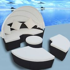 Patio Outdoor Rattan & Wicker 2-in-1 Sofa Sunbed Round Daybed Retractable Canopy