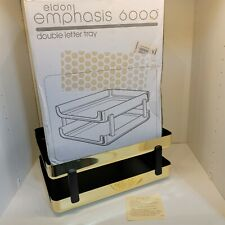 New Box Eldon Emphasis 6000 Office Executive Desk Paper Double Tray 1984 Brass