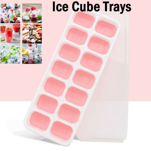 Ice Trays 3PC Easy-Release Silicone and Flexible 14-Ice Trays with Removable Lid