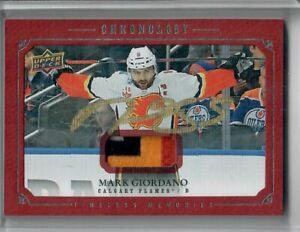 2019-20 UPPER DECK CHRONOLOGY MARK GIORDANO GOLD INK 4 COLOR PATCH CALGARY