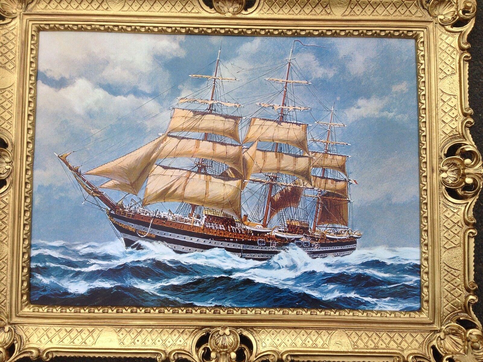 Image avec sur Cadres Bateau Peintures Mer 90x70cm Voilier sur avec Haut Lac Maritime 2623ea