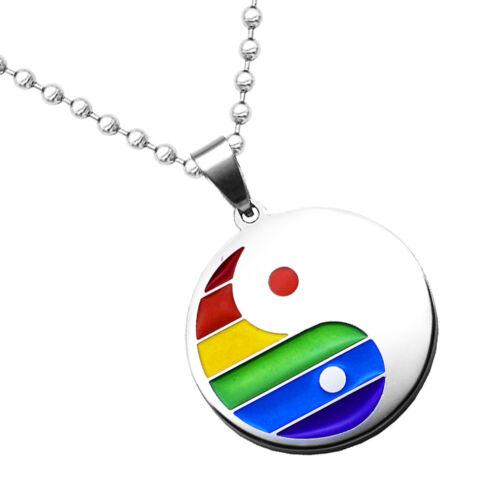 Émail Gay Rainbow Dog Tag Pendentif LGBT Pride Acier Inoxydable Chaîne Collier
