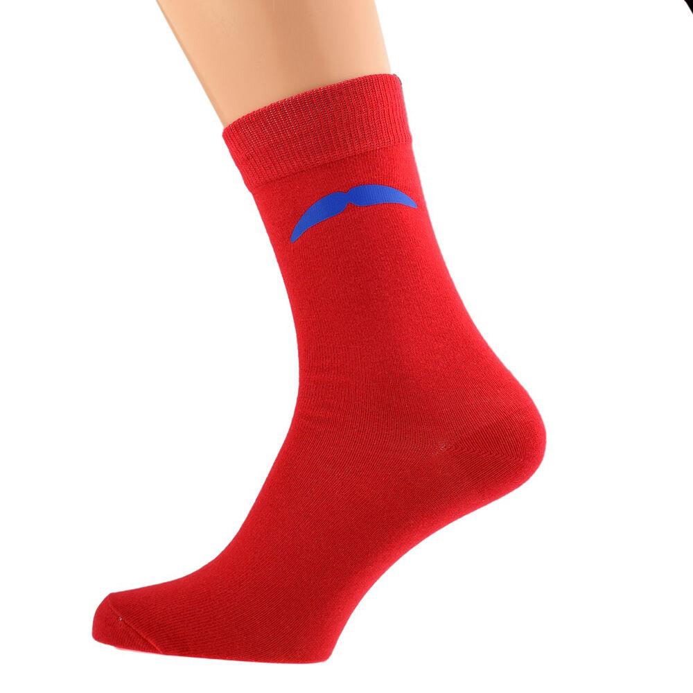 100% De Qualité Chaussettes Rouges Avec Bleu Moustache Taille 5-12 X6n010 Belle Et Charmante
