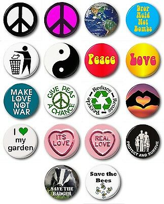 """Novelty Environment Various Designs PEACE /& LOVE - 1/"""" // 25mm Button Badge"""