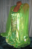 Lime Green Shiny Velvet Chemise Nightgown Robe Set 1x 2x 3x Gown & Robe