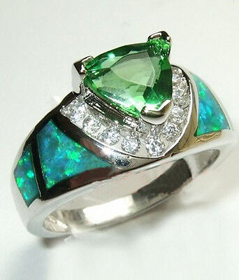 Triangular Green Emerald & Fire Opal Ring Women's Silver Plated Jewelry Size5-10