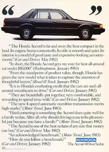 1984 Honda Accord testimonials Classic Vintage Advertisement Ad A68-B