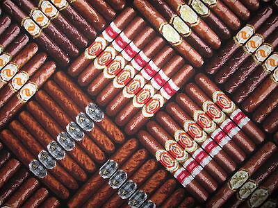 CIGAR SMOKE CIGARS STACKED MENS MAN CAVE COTTON FABRIC BTHY