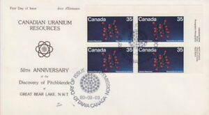 CANADA-865-35-URANIUM-UR-PLATE-BLOCK-ON-NR-COVERS-CACHET-FIRST-DAY-COVER