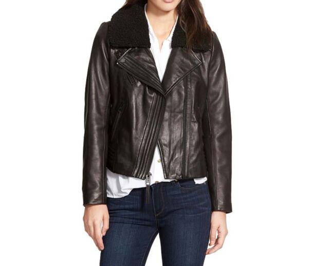 6b425a958dfb G0 Michael Kors Black Soft Leather Asymmetrical Zip Moto Jacket Size ...