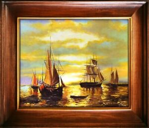 Painting-Port-Handmade-Oil-Painting-Picture-Oil-Ships-Frame-Pictures-G16020