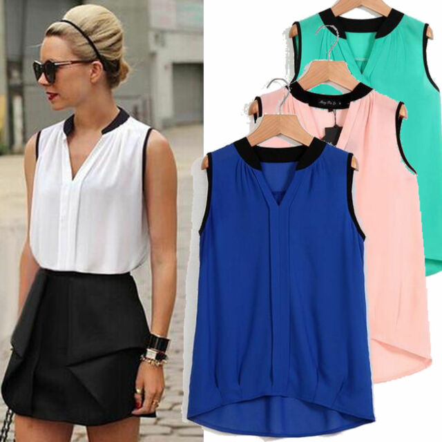 2015 Fashion Women Summer Loose Casual Chiffon Sleeveless Vest Shirt Top Blouse