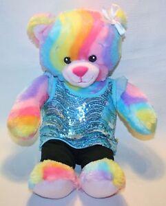 """Build a Bear 18"""" Rainbow Bear Aqua Sequin Top Leggings with Lace Soft"""
