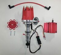 Ford Fe 352-360-390-427-428 Red Small Cap Hei Distributor & 50k Volt Red Coil