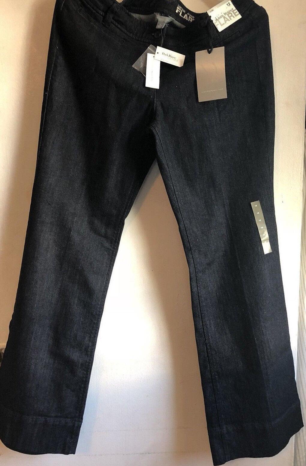 NWT Women's New York & Company Low rise Skinny Flare Leg Deep bluee Jeans Sz 12