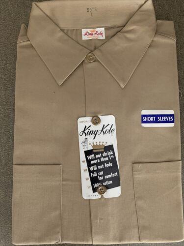King Kole Dark Beige Cotton Work Shirt Short Sleev