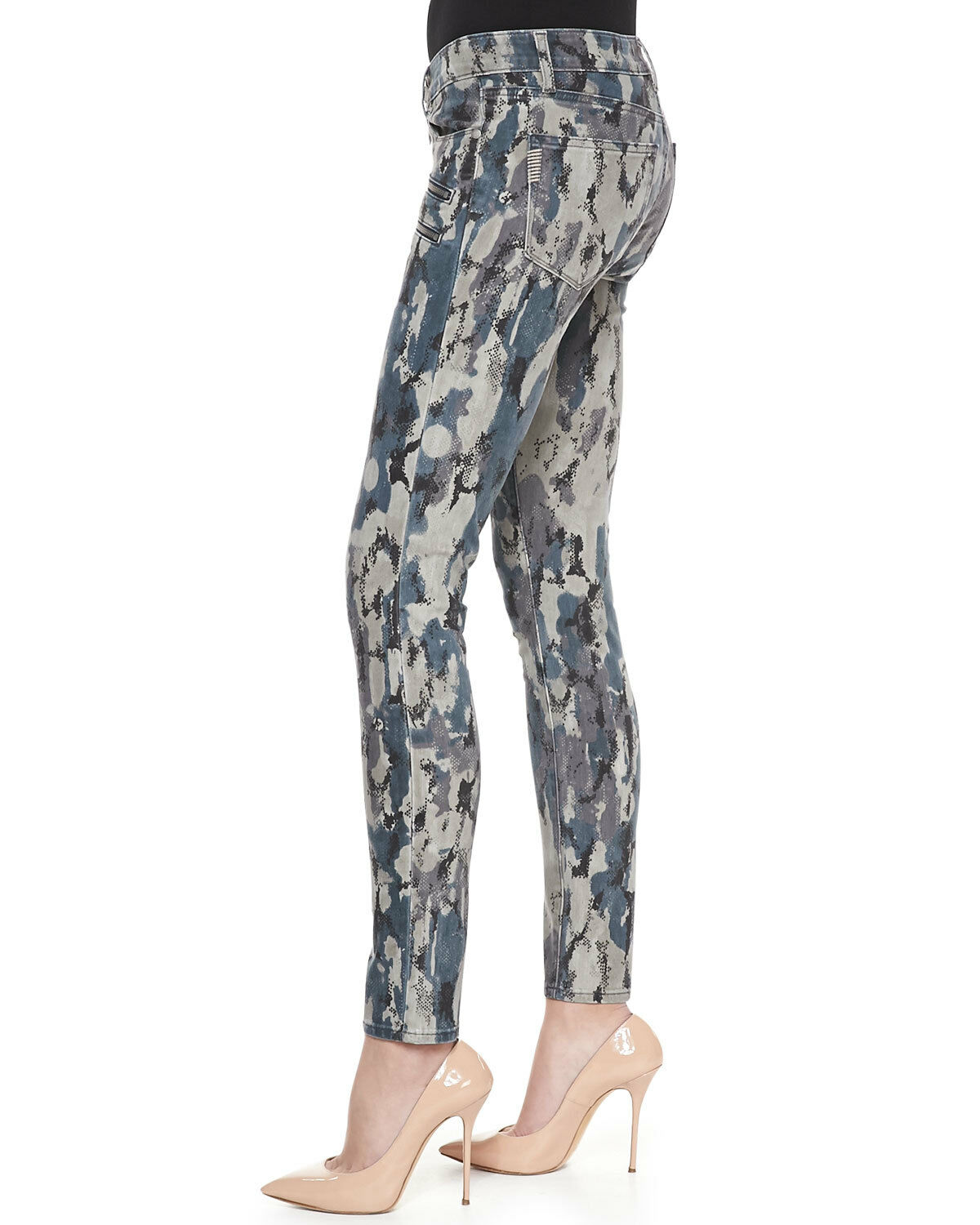249 NWT PAIGE DENIM 25 Madagascar Ultra Skinny Double Zipper Reptile Camo Jeans