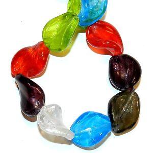 10 of 20mm topaz handmade foil glass beads