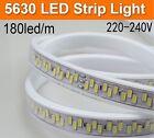 180leds/m Waterproof 220V led strip 5630 5730 SMD warm white Flexible tape light