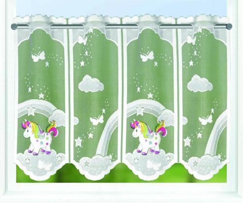 Bistrogardine Kindergardine EINHORN 45x140 cm individuell kürzbar Scheibengardin