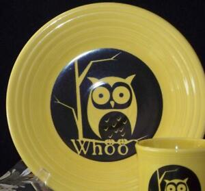 Fiesta-SUNFLOWER-WHOO-OWL-9-034-Luncheon-Plate-1st-Quality