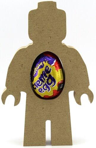 Pack of 5 MDF Egg Holder Easter wooden craft shape Brick Man Creme Egg