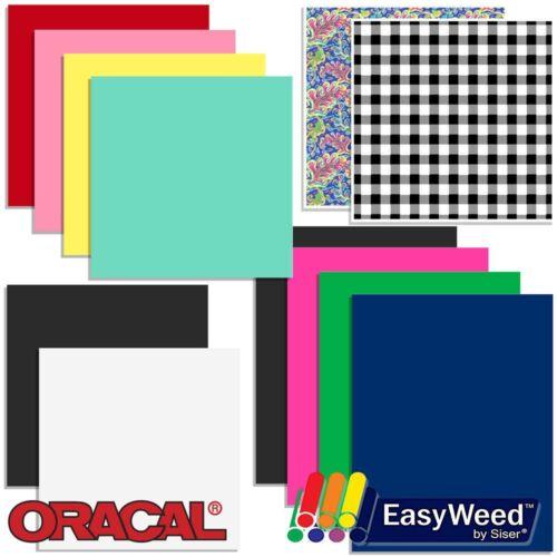 Oracal Vinyl and Siser EasyWeed Heat Transfer Starter Sample Pack 12 Sheets