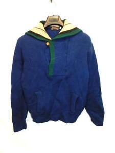 Vintage-Columbia-Thunderbird-S-Blue-Green-Brown-Wool-Sweater-Button-Hood-Pockets
