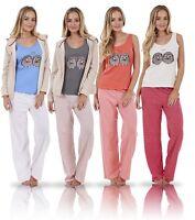 Ladies 3 Piece Pyjama Set Vest Bed Jacket PJ's Hoodie Pajamas Nightwear
