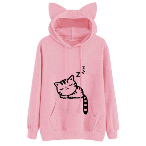 Women Ladies Cat Long Sleeve Hoodie Sweatshirt Jumper Sweater Pullover Tops Coat