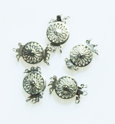 Round flower Filigreed white Glod Plated Clasp 13mm jewelry marking supply