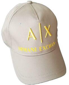 3e82458ceb8 Image is loading ARMANI-EXCHANGE-Gray-A-X-Yellow-Logo-Cotton-Adjustable-