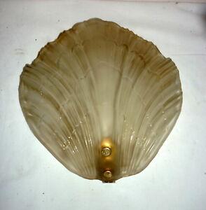 Applique Lampe Mural Forme De Coquillage Verre Givré 1960 Métal Doré Shell à Tout Prix