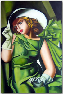 Oil Painting On Canvas Art Tamara De Lempicka Young Lady With Gloves 1930 Ebay