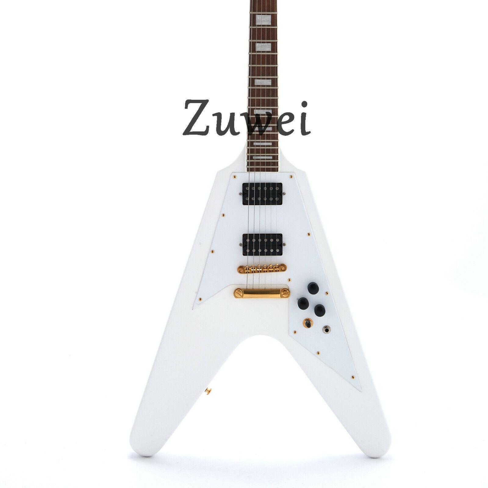 New V Style Electric Guitar Gold Hardware T-O-M Bridge Mahogany Body Weiß Farbe