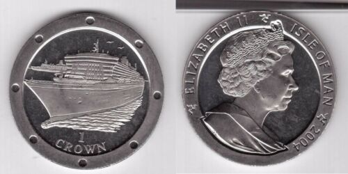 1 CROWN UNC COIN 2004 YEAR SHIP QUEEN MARY ISLE OF MAN