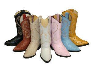 Women-039-s-Leather-Cowboy-Boots-Ostrich-Ladies-Boots