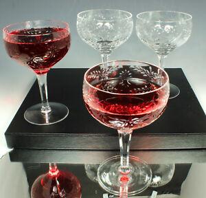 4-Etched-Floral-Wine-Glasses-VERY-FINE-RESONANT-CRYSTAL-12oz-ELEGANT-3-Lots