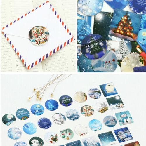 46x//lot Merry Christmas Sealing Sticker Diy Gift Bag Sealing Adhesive Tape DSUK