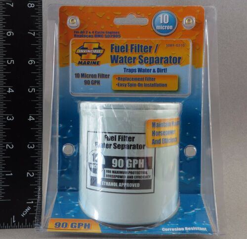 Invincible Marine Fuel Filter /& Water Separator OMC 10 Micron Spin-on BR53085